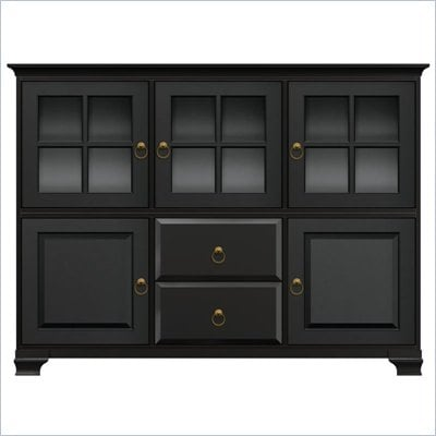 Howard Miller Ty Pennington Molly Storage Cabinet with Glass in Antique Black