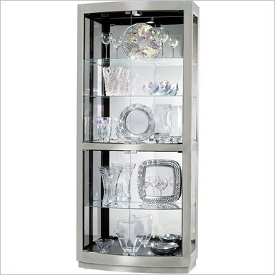Howard Miller Bradington II Hardwood Curio Cabinet in Nickel Finish