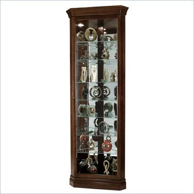 Howard Miller Cherry Bordeaux Drake Corner Curio Cabinet