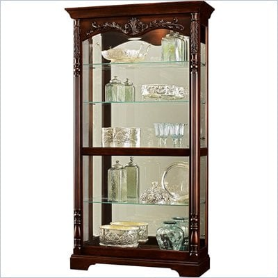 Howard Miller Felicia Curio Cabinet in Distressed Rustic Cherry