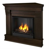 Real Flame Chateau Gel Corner Fireplace in Dark Walnut Finish