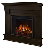 Real Flame Chateau Electric Corner Fireplace in Dark Walnut Finish