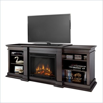 Real Flame Fresno Indoor TV Stand Electric Fireplace in Dark Walnut
