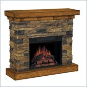 Classic Flame Flagstone Stacked Stone Electric Fireplace in Distressed Oak