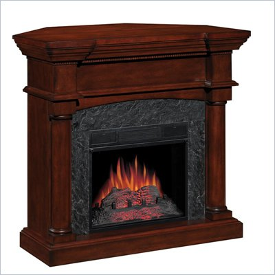 Classic Flame Martha's Vineyard Corner Electric Fireplace in Mahogany Finish