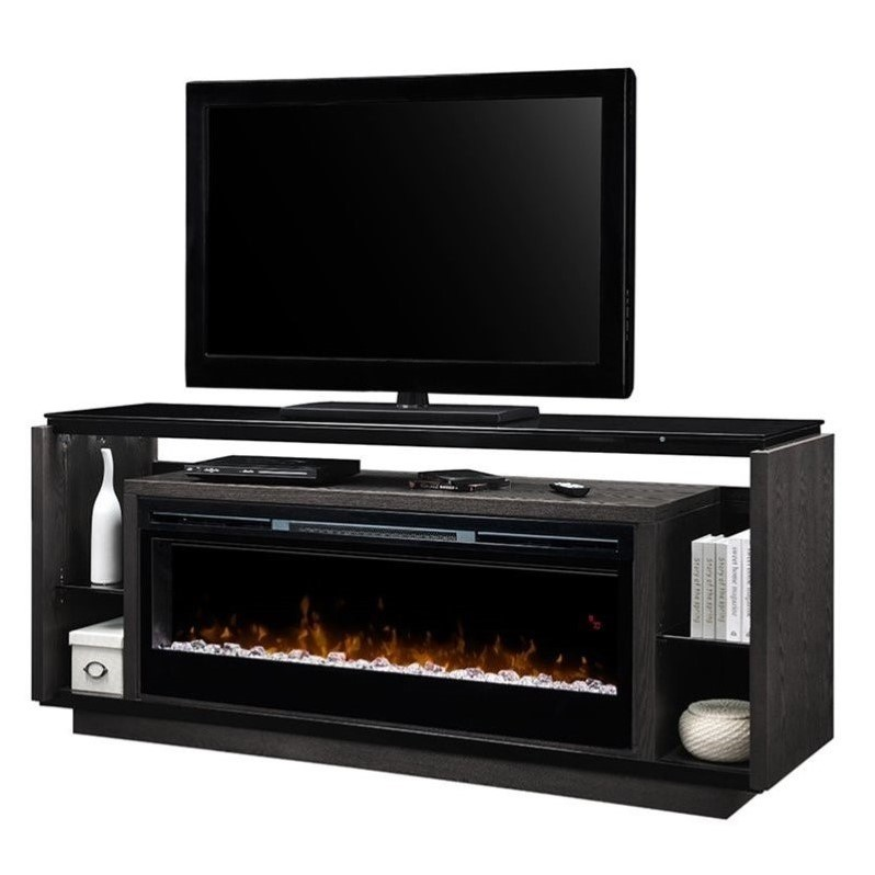 Dimplex David Sparkling Ember Bed Electric Fireplace TV Stand in Smoke