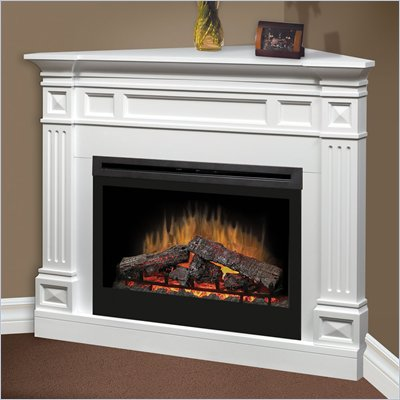 "Dimplex Traditional Corner 33"" Electric Log Fireplace in White"