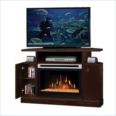 Dimplex Cheshire Electric Fireplace Corner TV Stand in Warm Mocha Finish