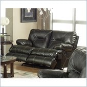 Catnapper Cortez Rocking Reclining Loveseat in Dark Brown Bonded Leather