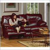 Catnapper Cortez Reclining Console Loveseat in Red Bonded Leather