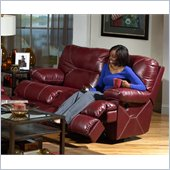 Catnapper Cortez Rocking Reclining Loveseat in Red Bonded Leather