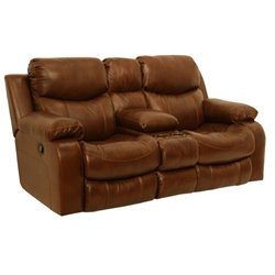 Catnapper Dallas Leather Reclining Console Loveseat in Tobacco