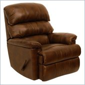 Catnapper Bentley Leather Touch Chaise Rocker Recliner Chair in Tobacco