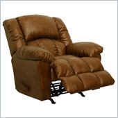 Catnapper Winchester Bonded Leather Chaise Rocker Recliner Chair in Saddle