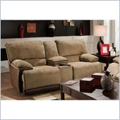 Catnapper Clayton Reclining Console Loveseat in Camel and Chocolate