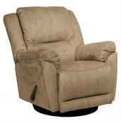 Catnapper Maverick Chaise Swivel Glider Recliner Chair in Stone Microfiber