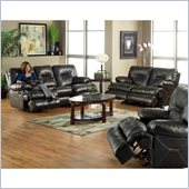 Catnapper Cortez Reclining 3 Piece Set Sofa in Dark Brown Bonded Leather