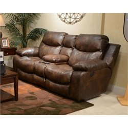 Catnapper Catalina Leather Reclining Console Loveseat in Timber