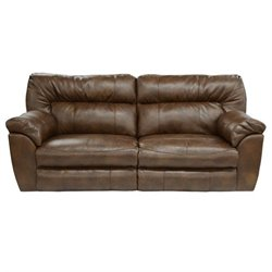 Catnapper Nolan Leather Power Reclining Sofa in Chestnut