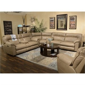 Catnapper Nolan Leather Power Reclining Sectional in Putty