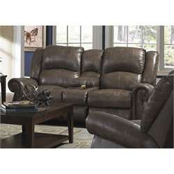 Catnapper Livingston Leather Dual Gliding Console Loveseat in Smoke
