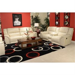 Catnapper Carmine Power Lay Flat Reclining Leather Sofa Set in Pebble