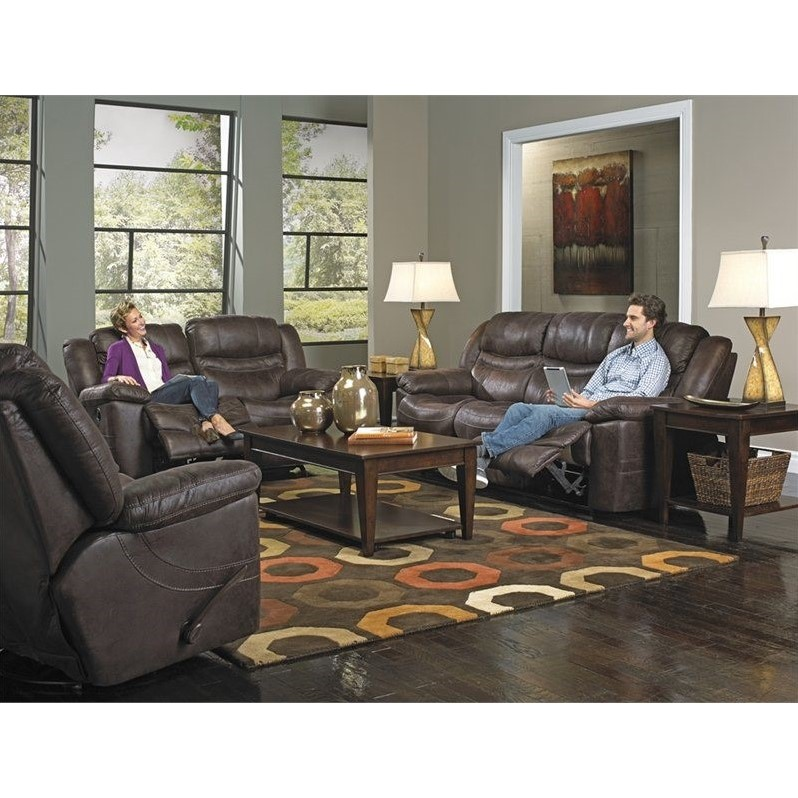 Catnapper Valiant Drop Down Table Power Reclining Sofa Set in Coffee