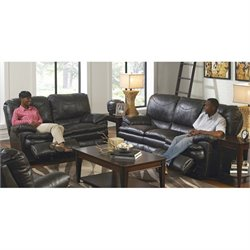 Catnapper Perez 2 Piece Reclining Leather Sofa Set in Steel