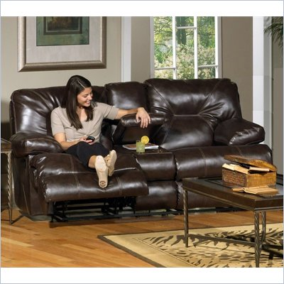 Catnapper Cortez Reclining Console Loveseat in Brown Bonded Leather
