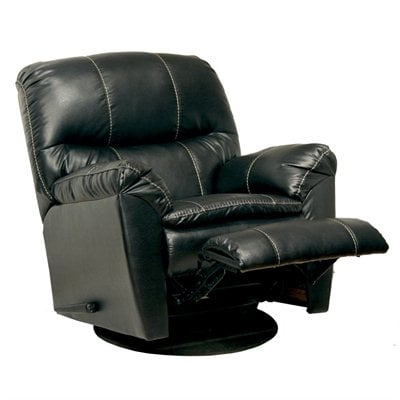 Catnapper Cosmo Bonded Leather Swivel Glider Recliner Chair in Black