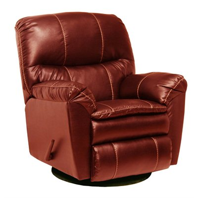 Catnapper Cosmo Bonded Leather Swivel Glider Recliner Chair in Red