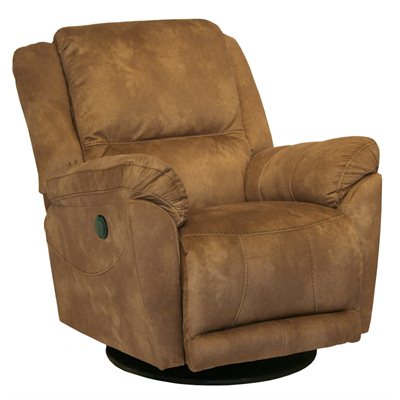 Catnapper Maverick Chaise Swivel Glider Recliner Chair in Saddle
