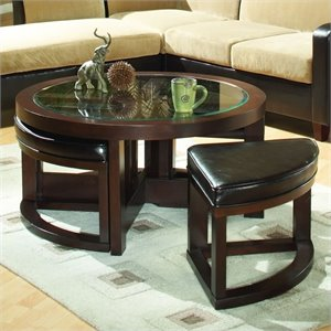 Trent Home Redell Round Glass Top Cocktail Table with 4 Ottomans in Dark Redwood