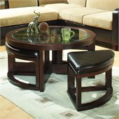 Homelegance Redell Round Glass Top Cocktail Table with 4 Ottomans