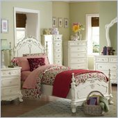 Homelegance Cinderella Girls Low Poster Bed in Ecru Finish