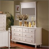 Homelegance Pottery White Dresser and Mirror Set
