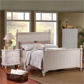 Homelegance Pottery Wood Panel Bed 3 Piece Bedroom Set in White