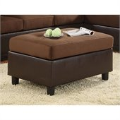 Homelegance Comfort Living Rhino Microfiber Ottoman in Chocolate Brown