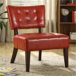 Trent Home Warner Leather Accent Chair in Red