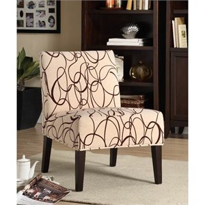 Trent Home Lifestyle Fabric Slipper Chair in Ivory Geometric Pattern