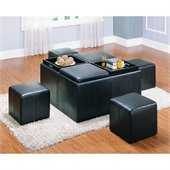 Homelegance Claire Bench w/ 4 Ottomans and Trays in Dark Brown