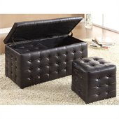 Homelegance Reynolds Storage Bench w/ 2 Ottomans in Dark Brown