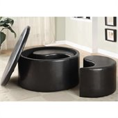 Homelegance Houston Round Storage Cocktail Ottoman in Dark Brown