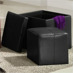Homelegance Ladd Storage Cube Ottoman in Black