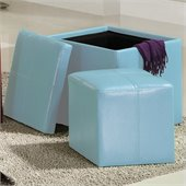 Homelegance Ladd Storage Cube Ottoman in Blue