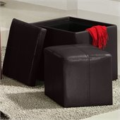 Homelegance Ladd Storage Cube Ottoman in Brown