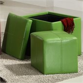 Homelegance Ladd Storage Cube Ottoman in Green