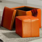 Homelegance Ladd Storage Cube Ottoman in Orange