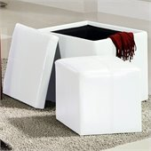 Homelegance Ladd Storage Cube Ottoman in White