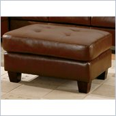 Homelegance Morgan Leather and Vinyl Ottoman in Brown